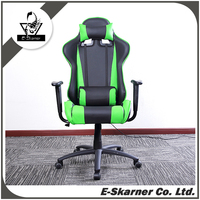E-Skarner Green Leather Racing Rest Chair Can Lay Down to Flat