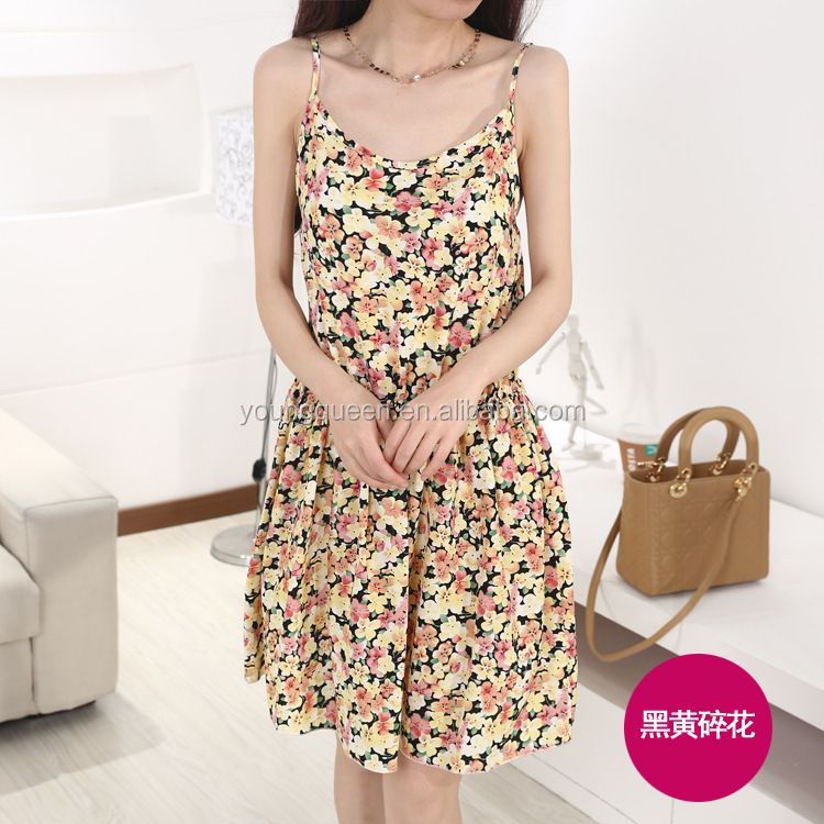 WA91 2016 new summer temperament loose harness floral skirt women dresses fashion dress latest dress designs