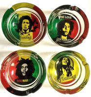 round gift custom printed logo made glass bob marley jamaican rasta ashtray ashtrays for smoking smoke cigarette cigar