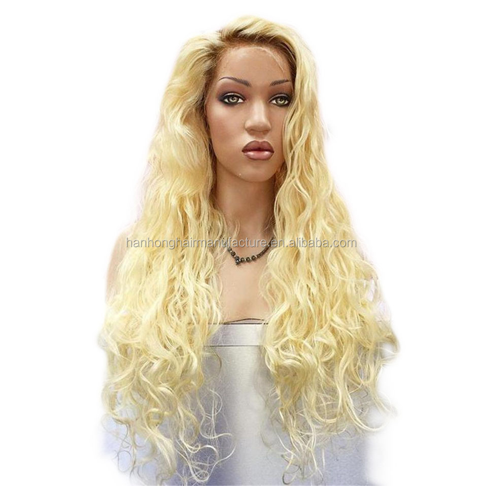 Alibaba hot blonde two tone wig 26inch natural wave 613 front lace human hair wigs
