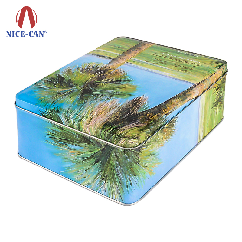 Nice-can Customized Fancy Tin Storage Boxes Square Metal Cookie Tins