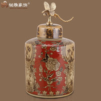 Chinese style snack holder ceramic pottery with lid ceramic flower vase for decor home