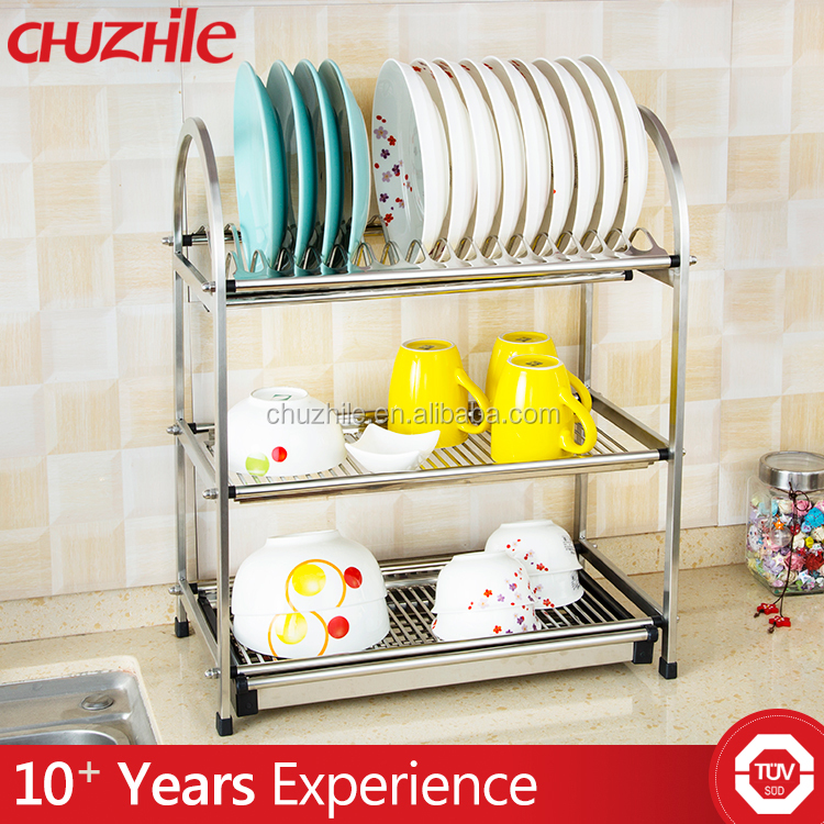 China supply multifunction eco-friendly stock 3 tiers dish rack stainless steel
