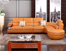 L-shape living room pu leather lazy sofa bed