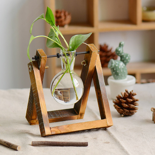 Rustic Wooden Stand Glass Vase Home Decor For Office Tables