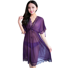 Wholesale Sexy Women Sleepwear Transparent Girl See Through Nightgown