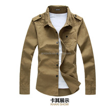 2015 new brand casual shirt ,kaki casual shoulder board shirt in mumbai ,military shirt new model casual strap shirt for men