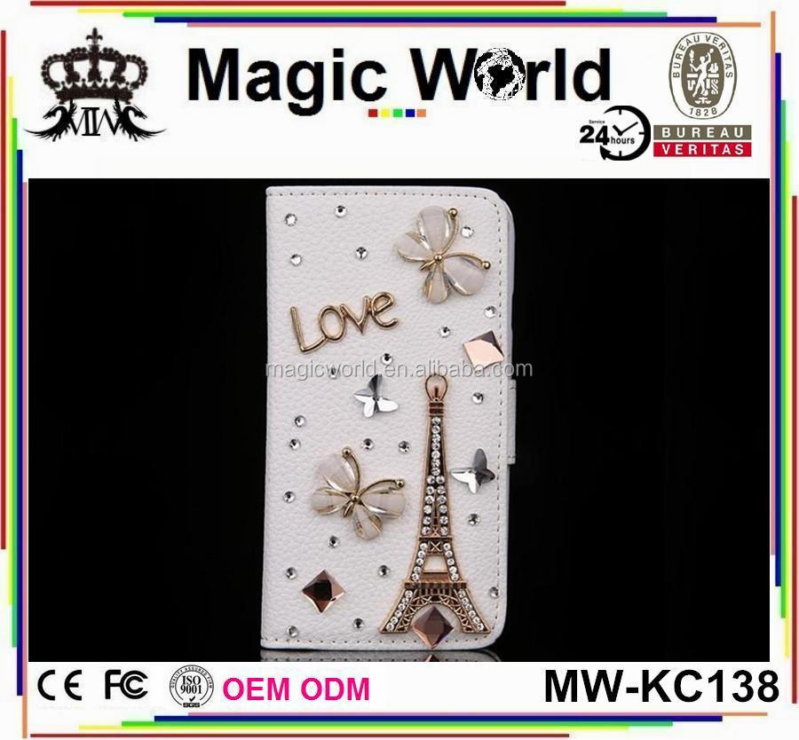 DIY Bling Diamond Handmade PU Flip Leather Mobile Phone Case For Iphone 6/6S