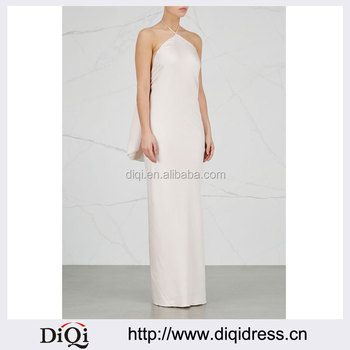 Wholesale Ladies Apparel Textured Tie Halterneck Light Pink Silk And