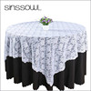 "2016 White Lace Table Overlay 108"" Round Polyester Crochet Vinyl Lace Tablecloth for Wedding Decoration in Event & Party Supply"