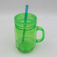 Double Wall Plastic Mason Jar Mug With Handle