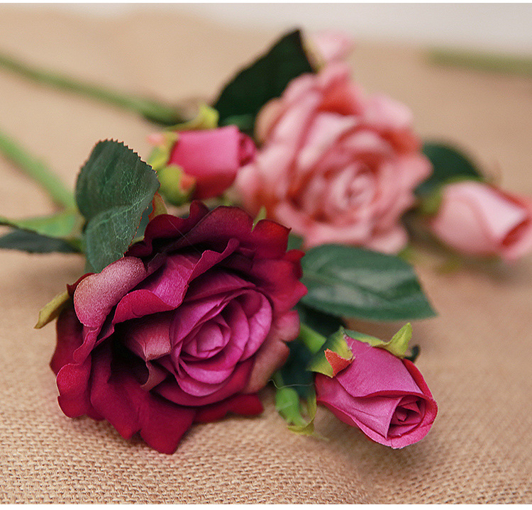 Real Look Artificial Rose Flower 3 artificial roses 8284 cheap silk flower bushes artificial flowers wholesale