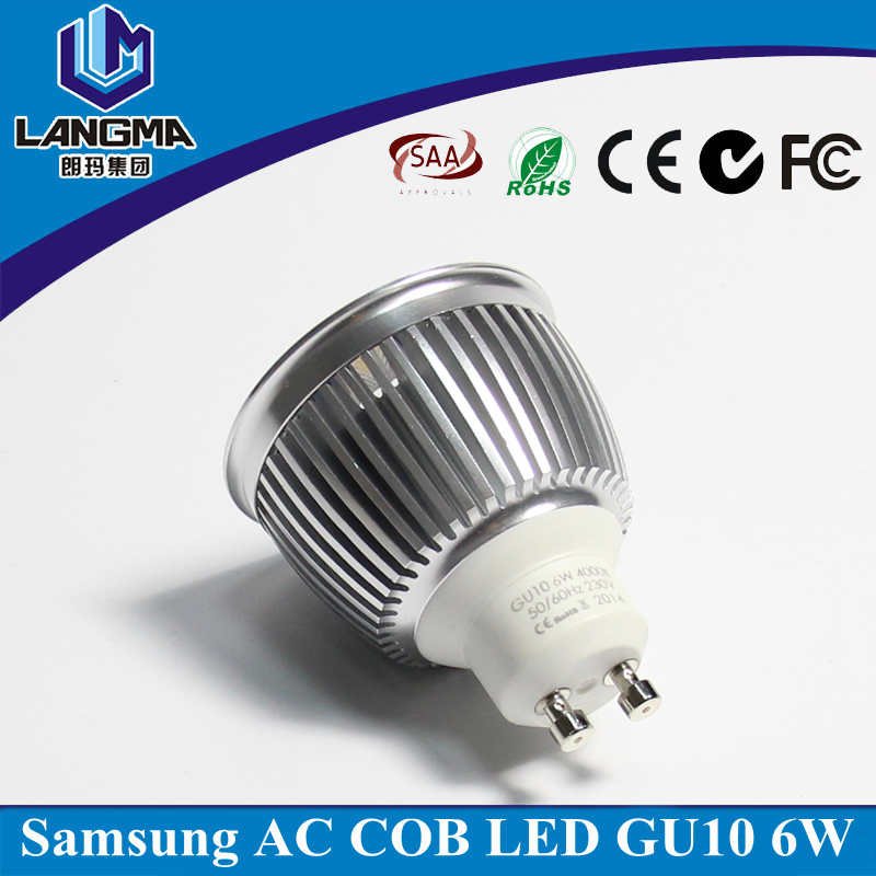 AC samsung cob Gu10 6w led light spot bulb 110v 230V