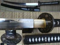 High quality Clay Tempered Black Steel Katana