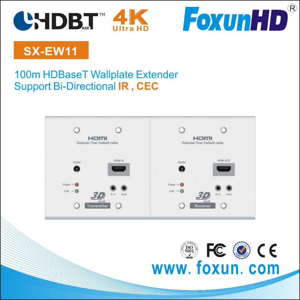 High quality 328 feet using a single Cat6 cable with this HDBaseT Wall Plate Extender from Foxun