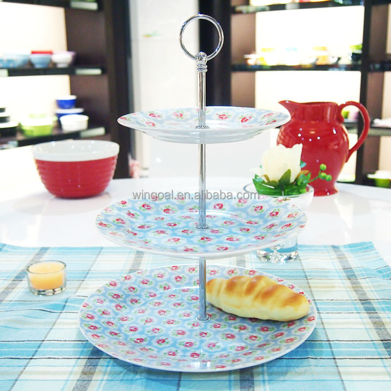 3 tiers decal ceramic cake stand