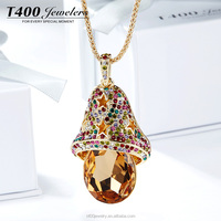 T400 fashion necklace rose gold jewelry sweather chain yellow crystal make with swarovski element