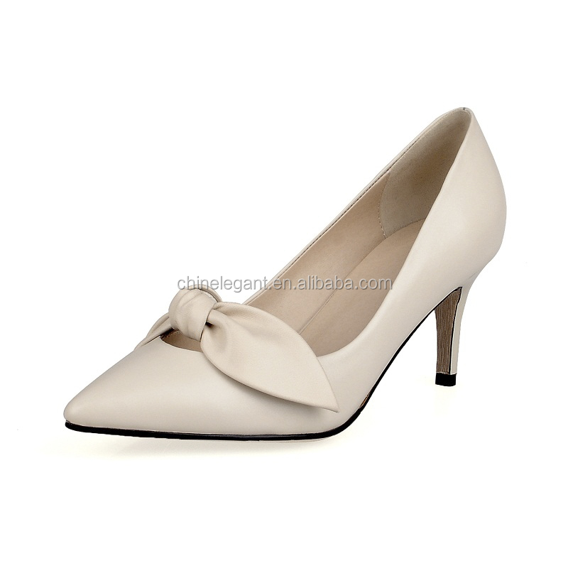 New Model Elegent Bow Tie Decration Women Pumps, Bowknot Pointed Toe Stiletto High Heel Ladies Dress Bridal Wedding Shoes