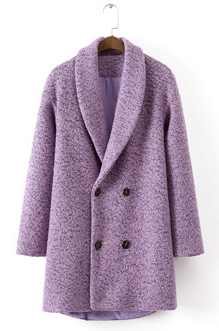 Free shipping Europe station 2015 new autumn and winter women long-sleeved purple double-breasted wool coat lapel ft175
