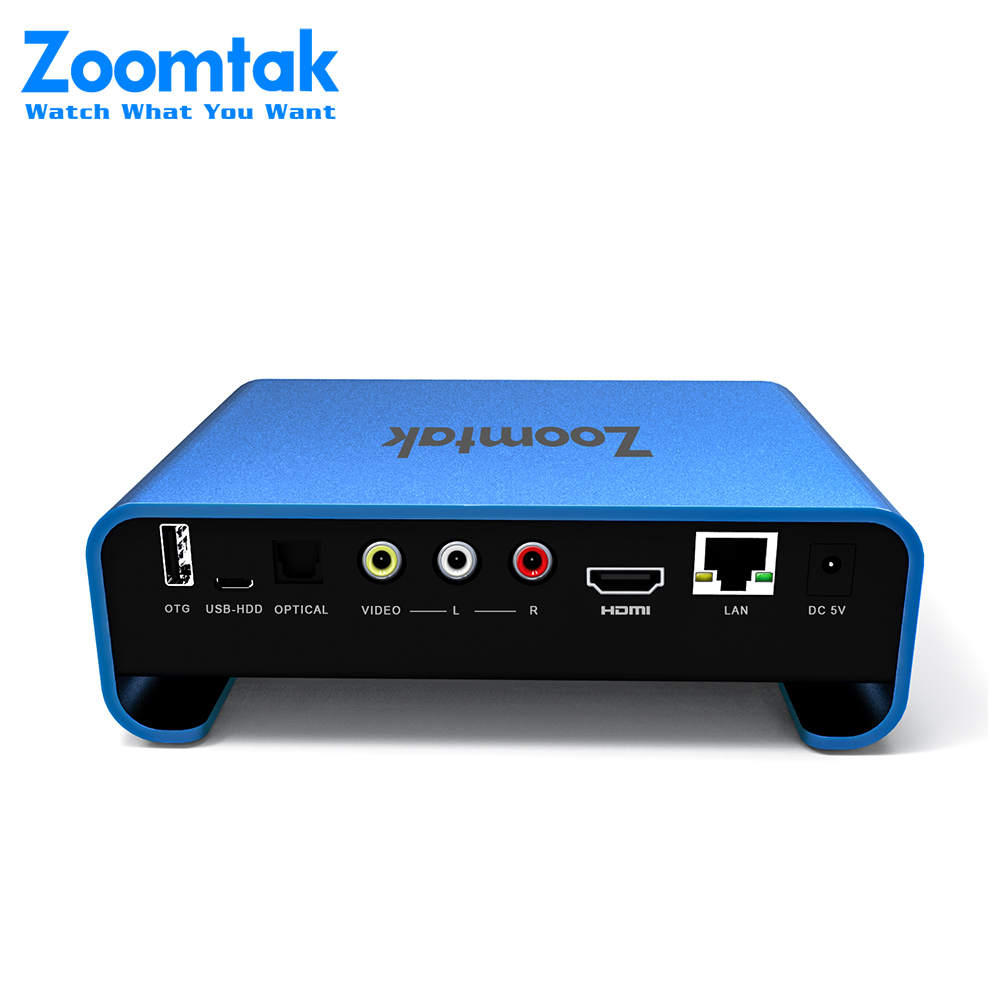 Zoomtak latest Blue color U plus Dual band wifi Set Top television box with SATA HDD