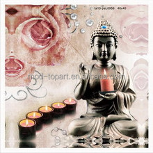 buddha & candle canvas wall art embedded with led lights