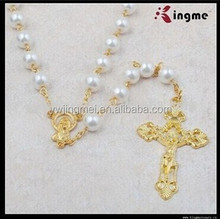 6mm white glass pearl beads Hail Mary jesus rosary