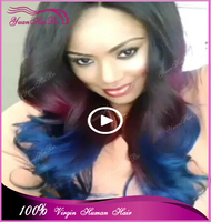 New Fashion Style ! 7A Grade Brazilian Virgin Human Hair 3 Tone Omber Color #1b/purple/blue Wavy Glueless Full Lace Wig !