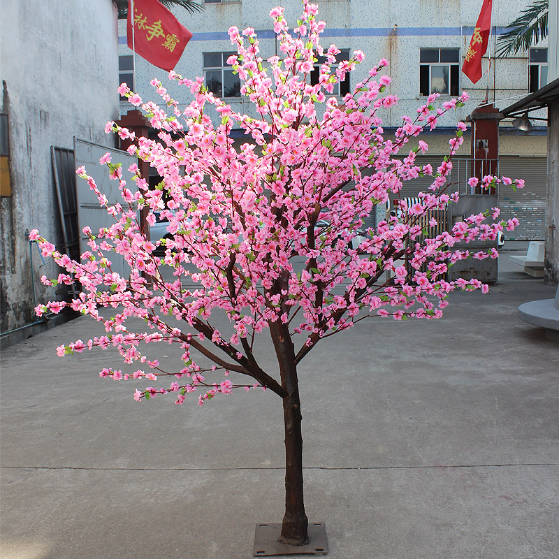 2 meters Real trunk artificial peach flower tree for hotel and garden decoration