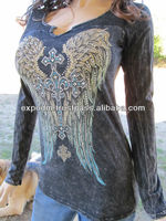 Thermal Velvet Black Cross Crystals Top Shirt Western Bling Biker S M L XL