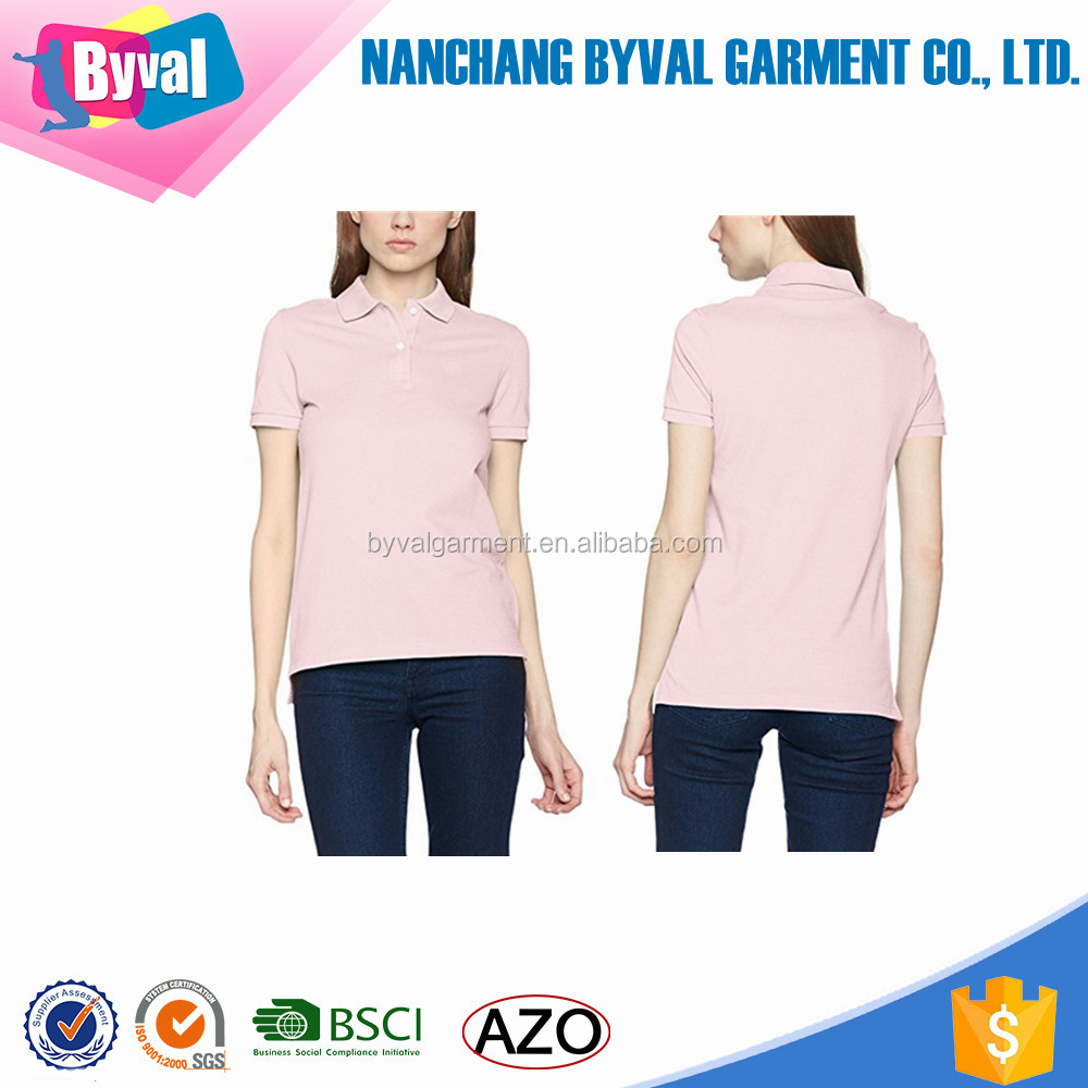Lady Cotton Polo Shirt Wholesale Soft Polo Collar T-Shirts Golf Tennis Shirts Custom Embroidery Logo Latest Design