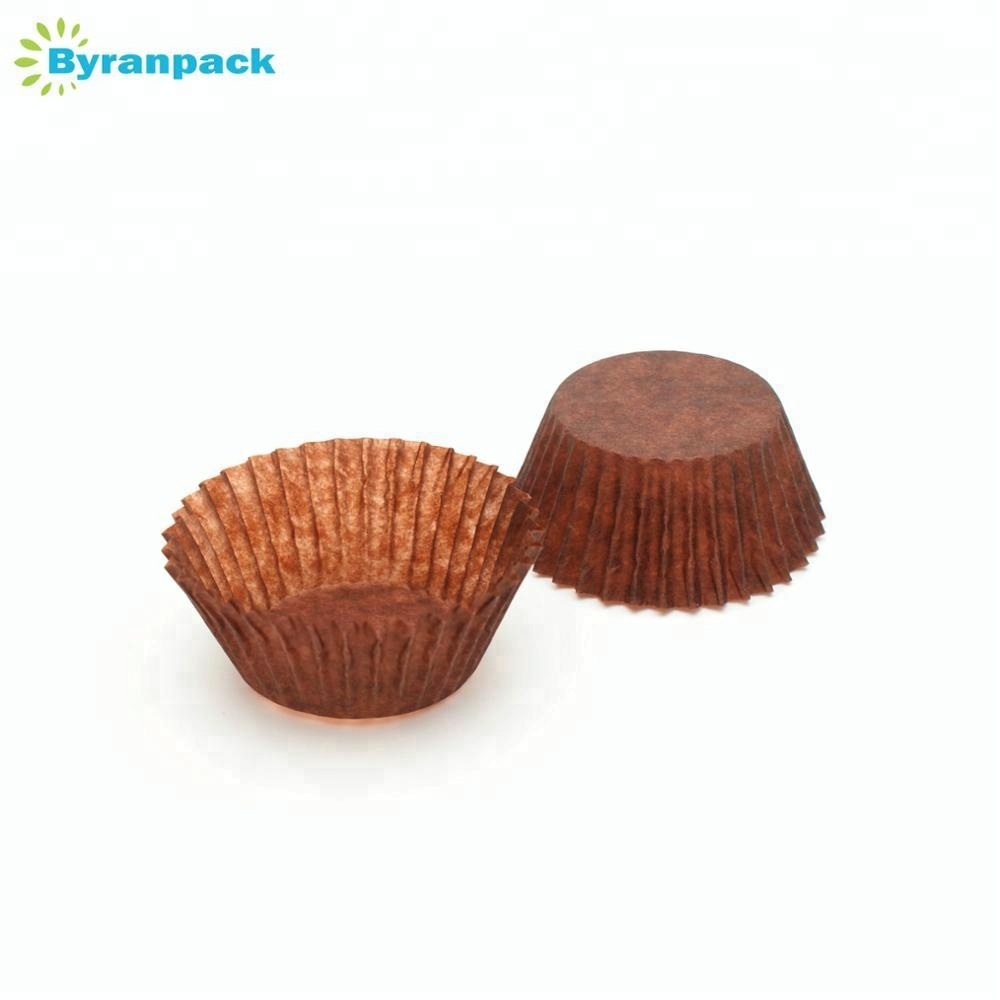 Brown translucent round Europe greaseproof paper muffin baking cups for cakes baking cups 2inches bottom