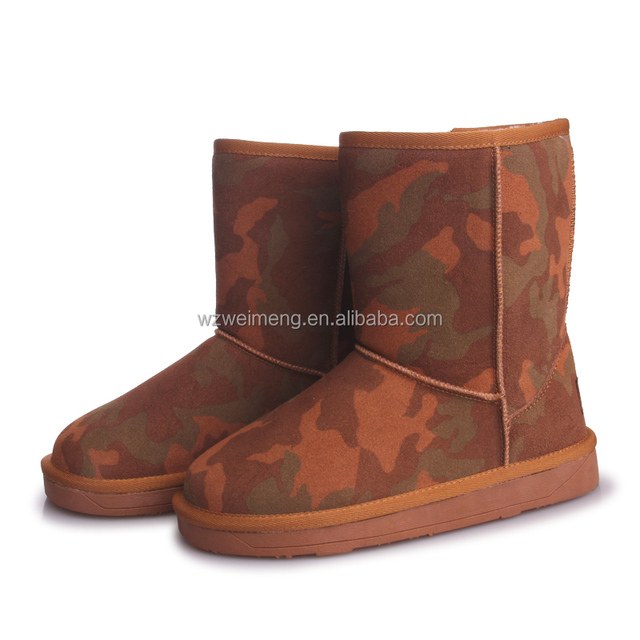 Wholesale sheepskin wool snow winter camo boots