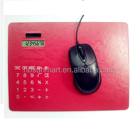 PU leather Mouse pad with solar calculator Rectangle