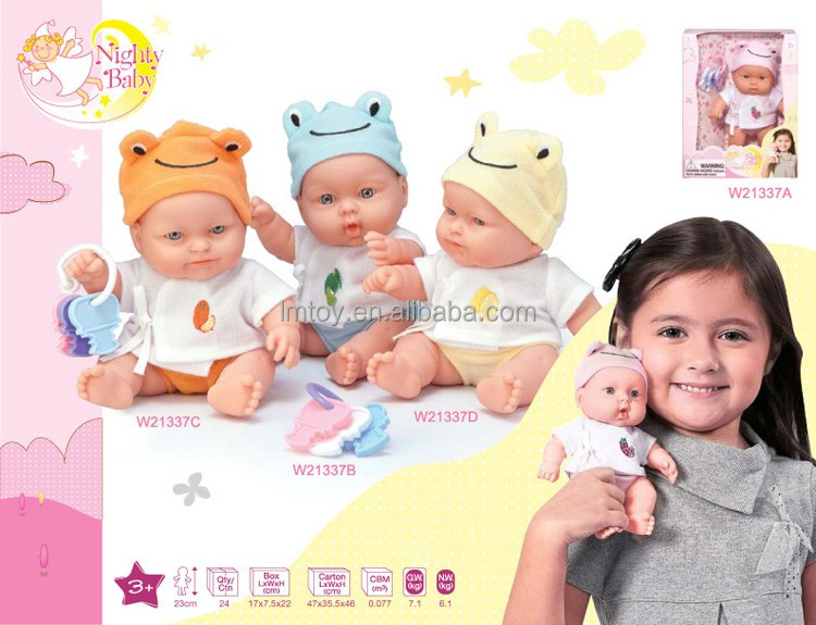 23cm 9 inch small plastic mini baby doll with frog hat, hard body and movable arms and legs