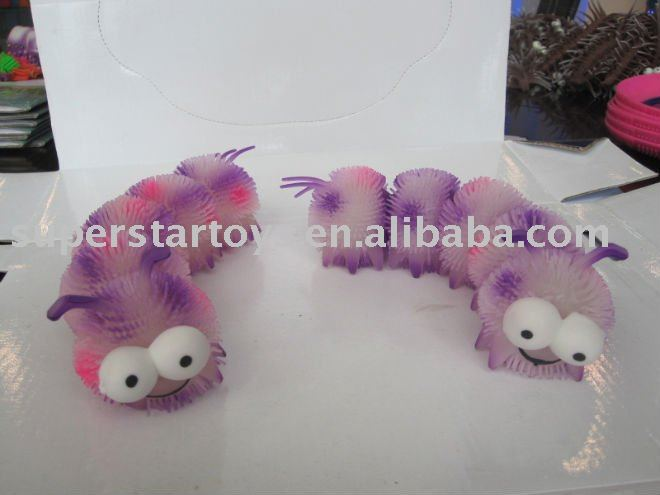 TPR 5 parts light up fluffy caterpillar