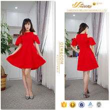 Promotional Korea style hollow out shoulder red spring clothing sexy student dress for teen
