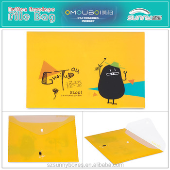 Wholesale A4 Eco-friendly PP Cartoon Printing Button Closure Envelope
