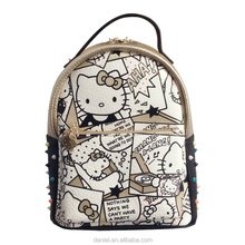 Girls hello kitty backpacks bag beautiful genuine leather cartoon printing school bags