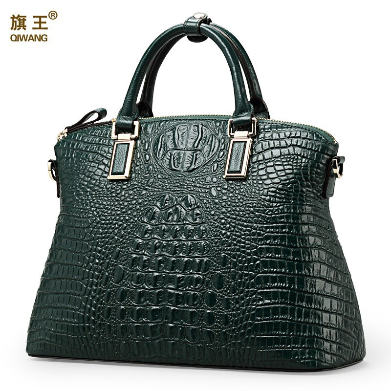 Qiwang Authentic Women Crocodile Bag 100% Genuine Leather Women Croco <strong>Handbag</strong> Wholesale QW8359 Free Shipping