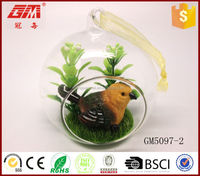 Wholesale fanny&hotsell handblown glass ball crafts with bird inside