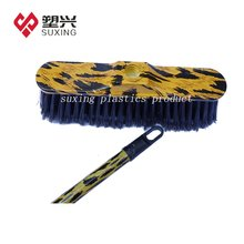 Plastic leopard print home cleaning broom with wooden stick