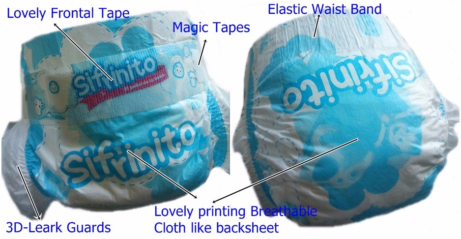 2017 Quanzhou Diaper Manufacturer New Cheap Breathable Cloth Like Magic Tapes Baby Diapers