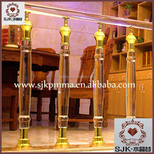 clear wedding decoration crystal glass pillars for interior stair railing