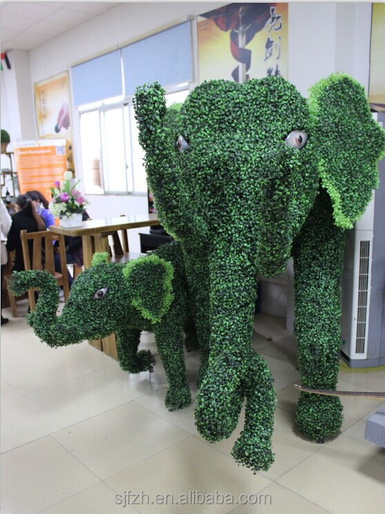 China factory manufacture artificial lawn animals large elephant family topiary