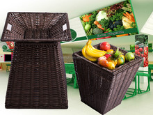 supermarket display rack with polywicker basket for fruit and vegetable