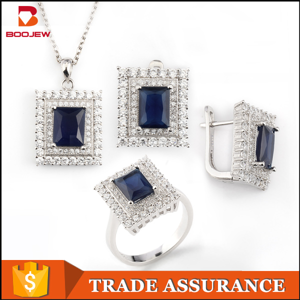 Fashion rani haar designs sterling silver jewelry blue stone jewelry white gold plated fashion jewelry sets