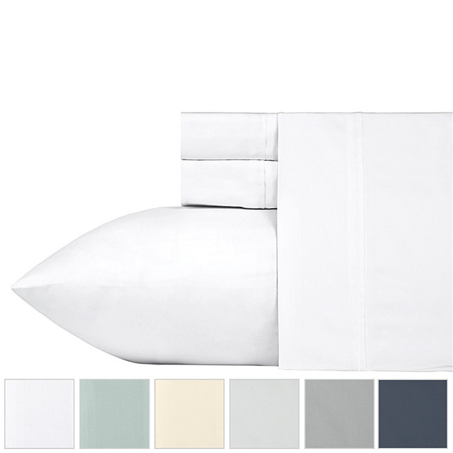 Pure White Full Sheets 4 Piece Set Long-staple Combed Pure Natural Cotton Bedsheets