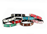 Top quality factory direct real leather adjustable bling rhinestone metal decoration collars for pet dog&cat
