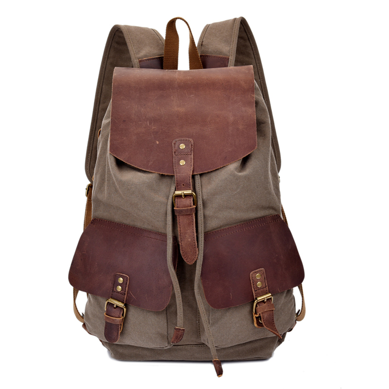 Crazy-horse Leather Backpack Men's Traveling Rucksack High School Mochilas