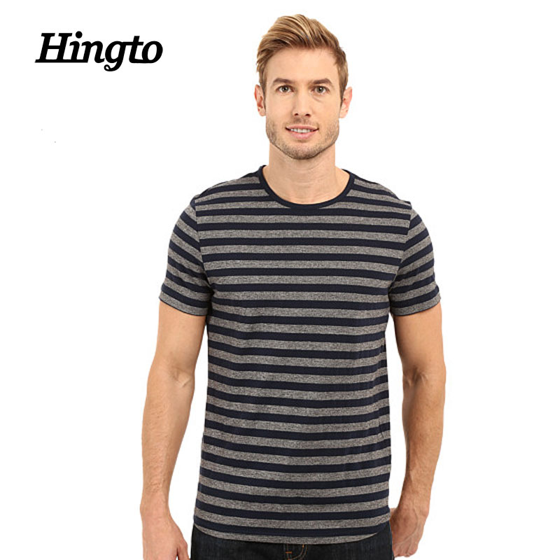 Men cool and casual red and black horizontal wide stripes t-shirts wholesale